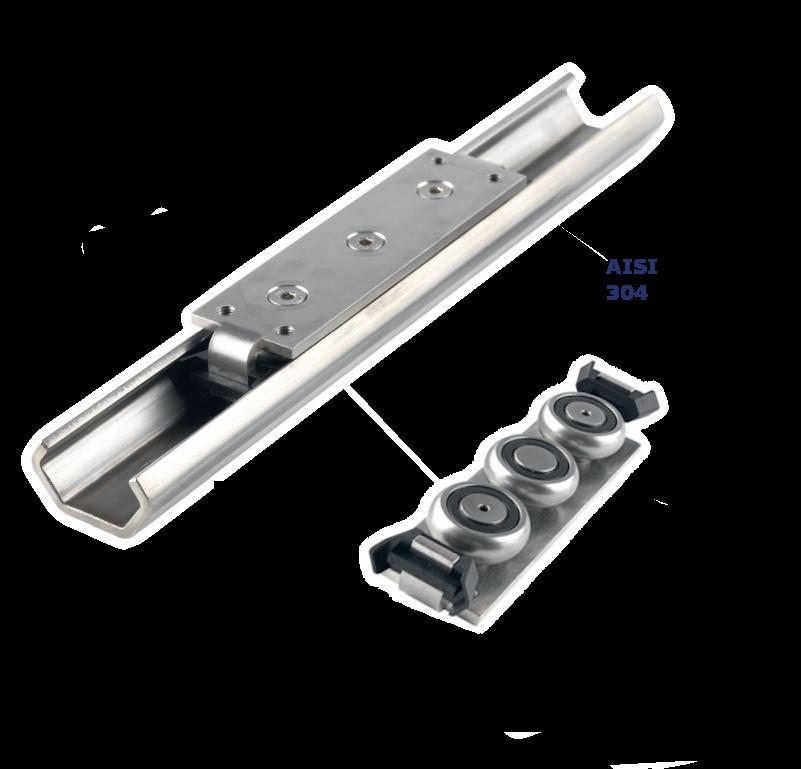 RVS C-rail met loopwielen